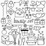 Collection Of Hand Drawn Lovely. Doodle Love Vector Set Illustration. Stock Images