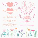 Collection Of Hand Drawn Lovely For Wedding. Doodle Vector Illustration Include Heart, Flower And Rabbit. Royalty Free Stock Image
