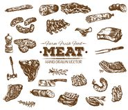 Collection of hand drawn meat sketch Stock Illustration