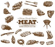 Collection of hand drawn meat sketch Royalty Free Illustration