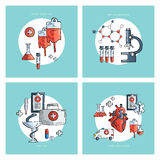 Collection of hand drawn medical icons. Blood donation. Donor. Healthcare and medical research. First aid help. Laboratory medical flask and microscope. Heart Royalty Free Stock Image