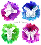 Collection with hand drawn mudras on watercolor backgrounds Royalty Free Stock Photo