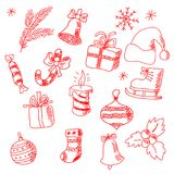 Collection of hand-drawn New Year`s holiday symbols Royalty Free Stock Photography