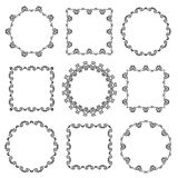 Collection of hand drawn ornamental frames Royalty Free Stock Images