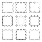 Collection of hand drawn ornamental square frames Stock Images