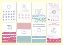 Collection of hand drawn party cards and invitations Stock Images