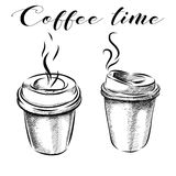 Collection of hand-drawn pictures coffee cups. Vector Stock Image