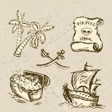Collection of hand-drawn pirates design elements. Stock Images