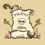 Collection of hand-drawn pirates design elements. Royalty Free Stock Images