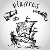 Collection of hand-drawn pirates design elements. Stock Photos
