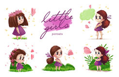 Collection of hand drawn portrait of cute little girl with long hair standing on the green grass Royalty Free Stock Photo
