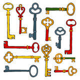 Collection of hand drawn retro keys Royalty Free Stock Photo