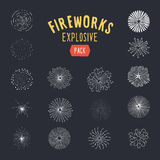 Collection of hand drawn retro sun bursts. Fireworks explosions - decorative elements for your design. Vector retro styled graphics Stock Photo