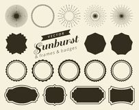 Collection of hand drawn retro sunburst, bursting rays design elements. Frames, badges royalty free stock images