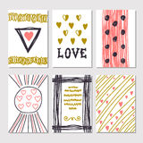 Collection of hand drawn romantic cards and invitations. Trendy. Posters with hand drawn background. Collection of brochures, posters, flyers, placards and Stock Photography