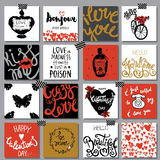Collection of hand drawn romantic cards. Valentine's Day backgro Stock Image