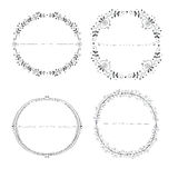 Collection of hand drawn round wreaths Royalty Free Stock Photo
