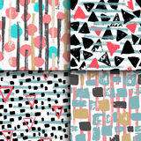 Collection of 4 hand drawn seamless geometric patterns. Stock Image