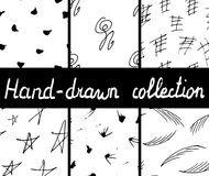 Collection of hand-drawn seamless monochrome patterns.Vector illustration Royalty Free Stock Photos