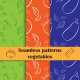 Collection of hand drawn seamless pattern cooking. Set of flat seamless backgrounds with hand drawn vegetables. Food theme. Unique and elegant patterns for cafes Stock Images