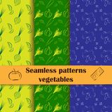 Collection of hand drawn seamless patterns with. Set of flat seamless backgrounds with line drawing vegetables. Food, cooking theme. Unique and elegant patterns Stock Photo
