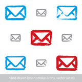 Collection of hand-drawn simple vector mail icons, set Royalty Free Stock Image