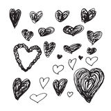 Collection of hand-drawn sketch hearts for Valentines Day Royalty Free Stock Image