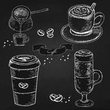 Collection of hand drawn Sketch pictures of coffee cups. Stock Photos