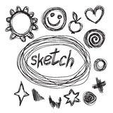 Collection of hand-drawn sketches heart, stars, apple and round Royalty Free Stock Photography