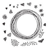 Collection of hand-drawn sketches hearts, flowers Stock Image