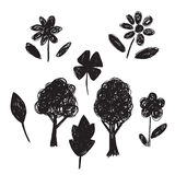 Collection of hand-drawn sketches trees, leaves, flowers Stock Photo