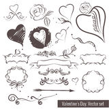 A collection of hand-drawn sketches for Valentine's Day. Beautiful heart. Stock Photo