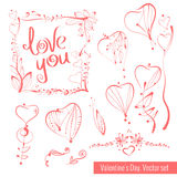 A collection of hand-drawn sketches for Valentine's Day. Beautiful heart. Stock Photography