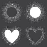 Collection of hand drawn snow frames - heart and circle shapes. Stock Image
