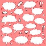 Collection of Hand Drawn Speech Bubbles. A Few Utterances Vector Speech Bubbles Set. Collection of hand drawn design elements for your blog, social network posts Royalty Free Stock Images