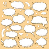 Collection of Hand Drawn Speech Bubbles. A Few Utterances Vector Speech Bubbles Set. Collection of hand drawn design elements for your blog, social network posts Royalty Free Stock Photography