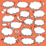Collection of Hand Drawn Speech Bubbles. A Few Utterances Vector Speech Bubbles Set. Collection of hand drawn design elements for your blog, social network posts Stock Images