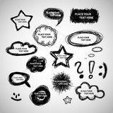 Collection of Hand Drawn Speech And Thought Bubbles Royalty Free Stock Photo