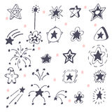 Collection of hand drawn stars. Doodle stars and firework Stock Images