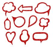 Collection of hand drawn think and talk speech bubbles. Isolated vector. royalty free illustration