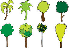 Collection of hand drawn trees Stock Photo