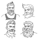 Collection of hand-drawn trendy men. With mustache, beard and hairstyle. Vector set. Illustration isolated on background stock illustration