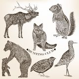 Collection of hand drawn vector animals in vintage style Royalty Free Stock Photos