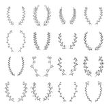 Collection of hand drawn vector circular decorative elements. La. Urels and wreaths. Vector illustration Royalty Free Stock Photos