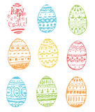 Collection of hand drawn vector easter ornamental rich decorated Stock Image