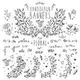 Collection of hand drawn vintage design elements Stock Image