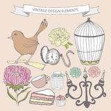 Collection of hand drawn vintage items. Perfume bottle, aster, cake, cage bird, pocket watch, candlestick. Elements can be used separately or for  greeting Royalty Free Stock Image