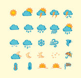 Collection of hand drawn weather icons Royalty Free Stock Photography