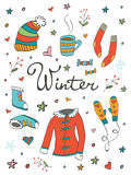 Collection of hand drawn winter related graphic Stock Images