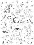 Collection of hand drawn winter related graphic elements Royalty Free Stock Photos